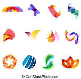 12 different colorful vector symbols: (set 20)