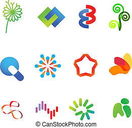 12 different colorful vector symbols: (set 23)