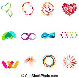 12 different colorful vector symbols: (set 25)