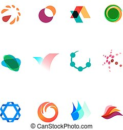 12 different colorful vector symbols: (set 26)