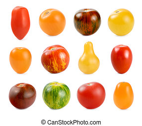 12 different sorts of tomatoes over white - High resolution...