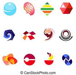 12, differente, colorito, vettore, symbols:, (set, 22)