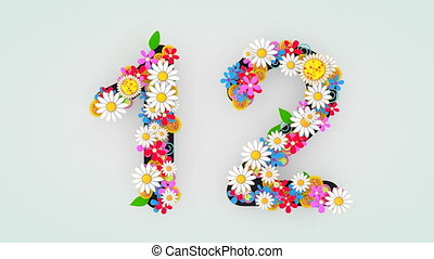 """12."""", floral, animation, """"numerical, chiffre"""