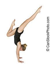 12, gammalt år, flicka, in, gymnastik, ge sig sken