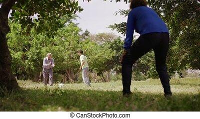 12-Happy Family Grandma Grandpa And Boy Playing Football -...