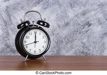 12 heures, mur, vendange, horloge, bois, fond, table