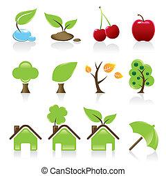 12, iconos, idea, ambiental, conjunto, verde, diseño, su