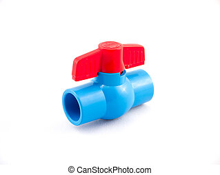 1/2 inch PVC flow valve with red handle