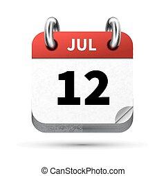 12, juli, isoleret, realistiske, klar, dato, hvid, kalender,...