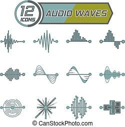 12, lenget, ikonok, vektor, hangzik, fehér, ábra, tervezés, háttér., téma, equalizer.