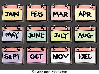 12-Month Calendar Cartoon Vector Icon Set - Vector...