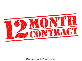 12 MONTH CONTRACT red Rubber Stamp over a white background.