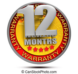 12 Month Warranty 3d illustration on white background.(with Clipping Path).