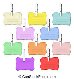 12 notelet vectors - set of 12 coloured notelets with pegs