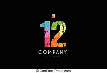12 number grunge color rainbow numeral digit logo