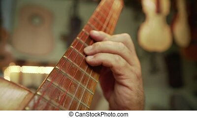 12-old, homme, luth, fabricant, jouer, classique, guitare, dans, magasin