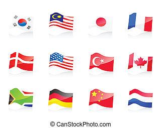 12, país, banderas, icono