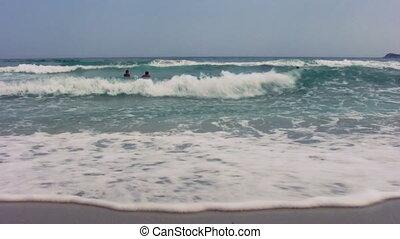 12, plage, sablonneux, vagues