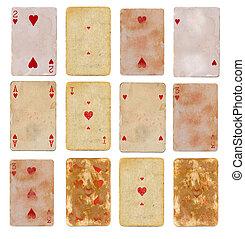 12, playing, карта, of, hearts, бумага