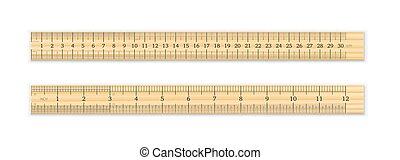 12, pouces, centimètre, règle bois, 30, réaliste