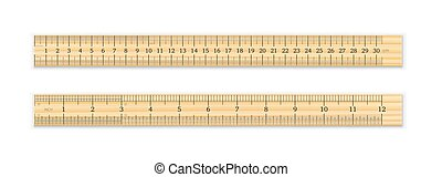 12, pulgadas, cm, regla de madera, 30, realista