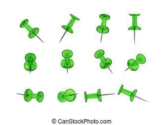12 Realistic Thumbtacks - GREEN Set