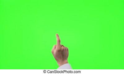 12, scherm, jonge, hand, gebaren, groene, zakenman, beroeren...