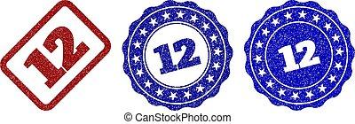 12 Scratched Stamp Seals