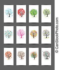 12, tarjetas, con, árboles, design., estación, feriado