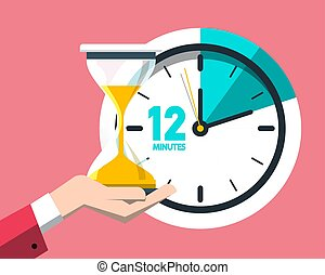 12 Twelve Minutes Clock Icon. Vector Time Symbol.
