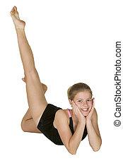 12, viejo, gimnasia, año, niña, posturas