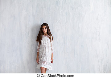 12, vieux, années, mode, girl, robe, blanc