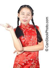 12, vieux, chinois, années, asiatique, année, nouveau, girl, robe, rouges