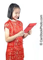 12, vieux, chinois, grand, années, regarder, ang, asiatique, année, nouveau, girl, robe, rouges, pao