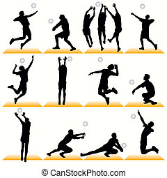 12 Volleyball Players Silhouettes Set