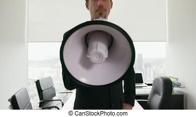 12 White Collar Office Worker Talking With Megaphone At...