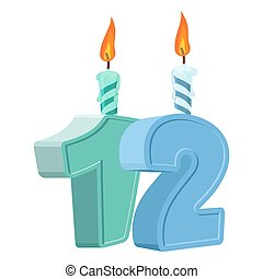 12 years birthday. Number with festive candle for holiday cake. twelve Anniversary