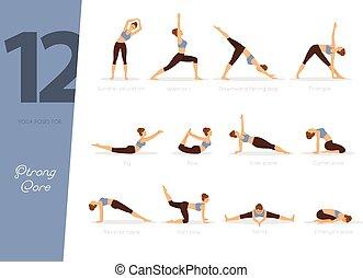 12, yoga, posturas, para, fuerte, núcleo