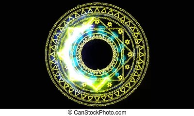 12 zodiac and dodecagon fire power overwhelming around powerful magic yellow