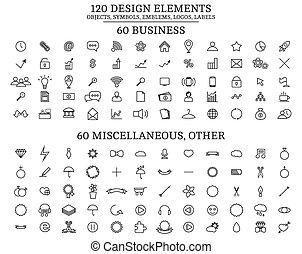 120 Design Elements , Objects, symbols, emblems, logos, labels
