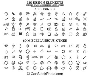 120 Design Elements , Objects, symbols, emblems, logos, labels