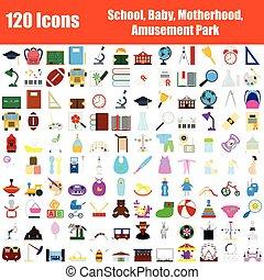 120, ensemble, icônes
