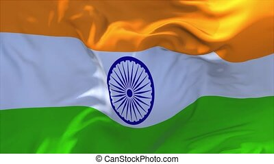 120. India Flag Waving in Wind Continuous Seamless Loop Background.