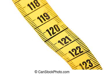 120, mètre ruban, gros plan, blanc, jaune, isolé, -