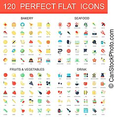 120 modern flat icon set of bakery, seafood, fruits, vegetables, drink icons.