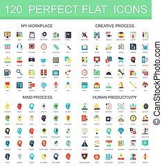 120 modern flat icon set of workplace, creative process, mind process, human productivity icons.