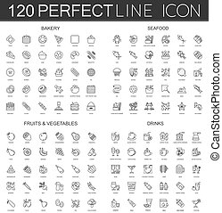120 modern thin line icons set of bakery, seafood, fruits and vegetables, drinks.