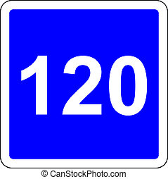 120 suggested speed road sign - Road sign with suggested...