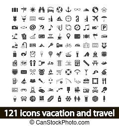 121, ícones, férias, e, viagem