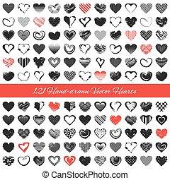 Hand-drawn romantic hearts. Vector illustration